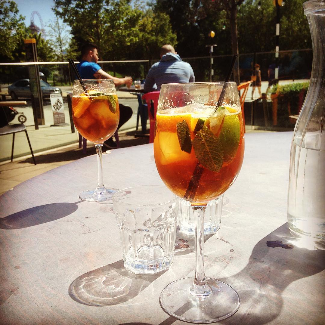 Refreshing Pimms in the sun catching up with baby sisterhellip