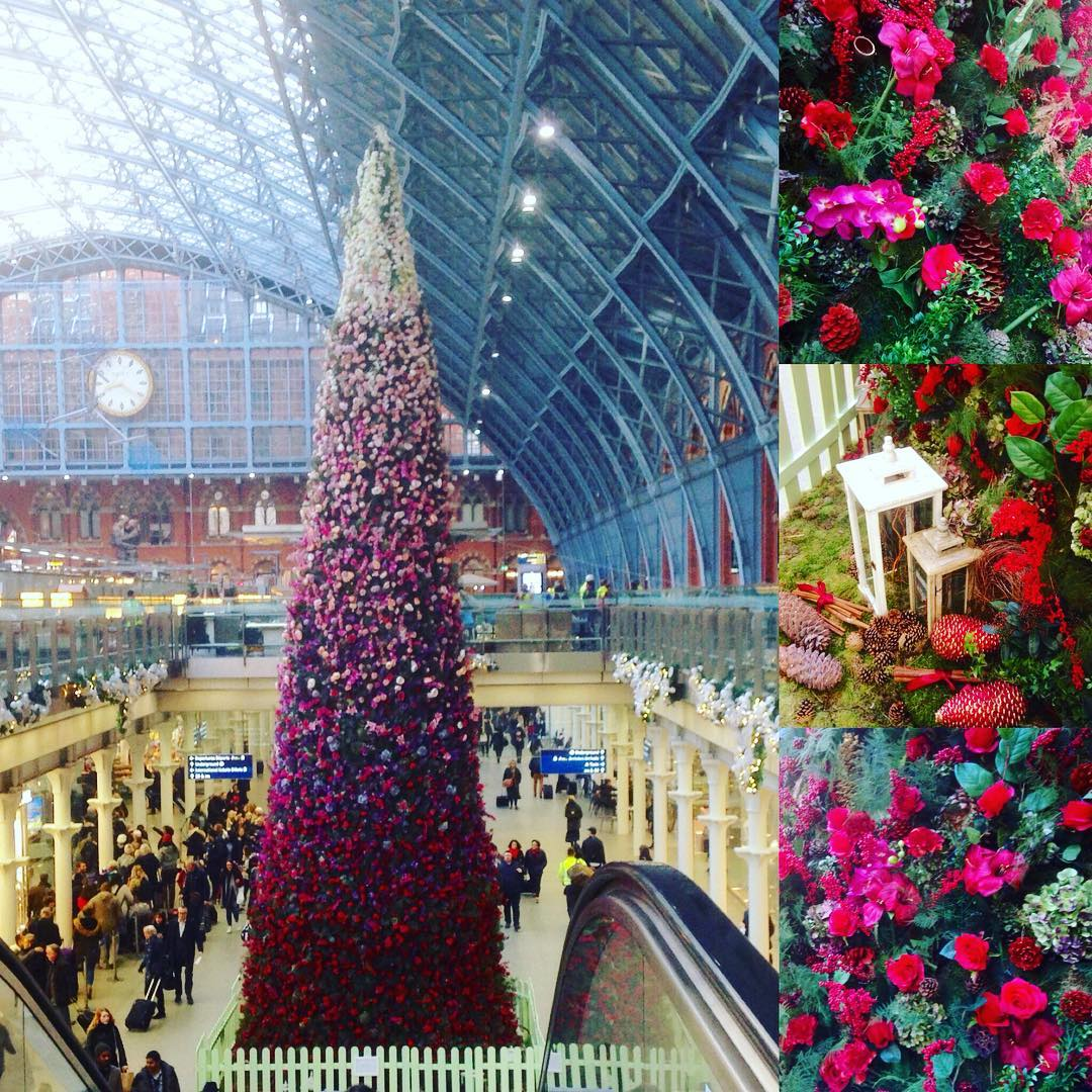 Stunning 47ft tall floral Christmas tree at St Pancras Stationhellip